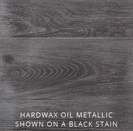 Hardwax Oil Metallic shown on a black stain